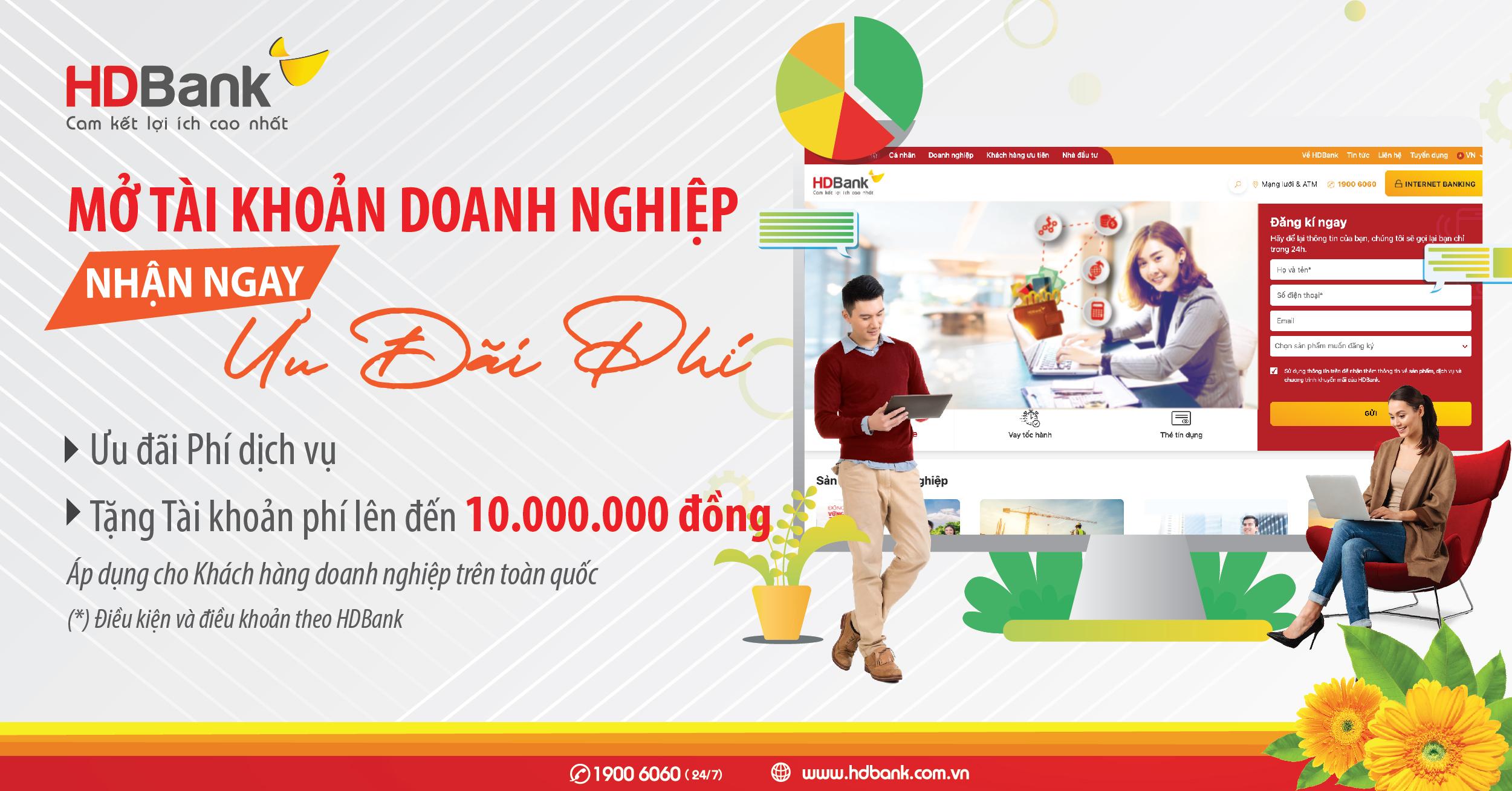 HDBank ưu đãi phí cho khách hàng mở tài khoản doanh nghiệp - Ảnh 1.
