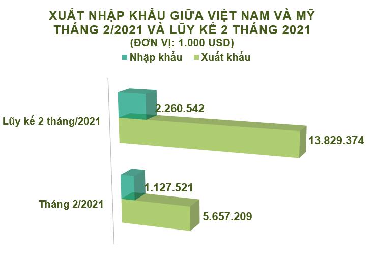 Xuất nhập khẩu Việt Nam và Mỹ tháng 2/2021: Thặng dư thương mại hơn 4,5 tỷ USD - Ảnh 2.