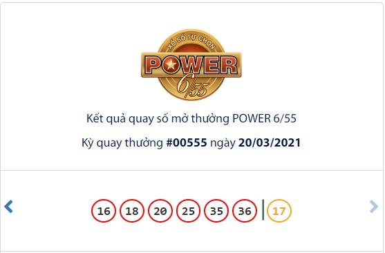 Kết quả Vietlott Power 6/55 ngày 20/3: Hơn 113 tỷ đồng jackpot tiếp tục đợi chủ - Ảnh 1.