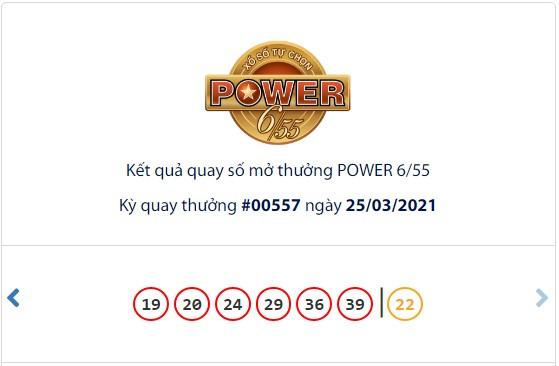 Kết quả Vietlott Power 6/55 ngày 25/3: Hơn 121 tỷ đồng Jackpot tiếp tục chờ chủ - Ảnh 1.