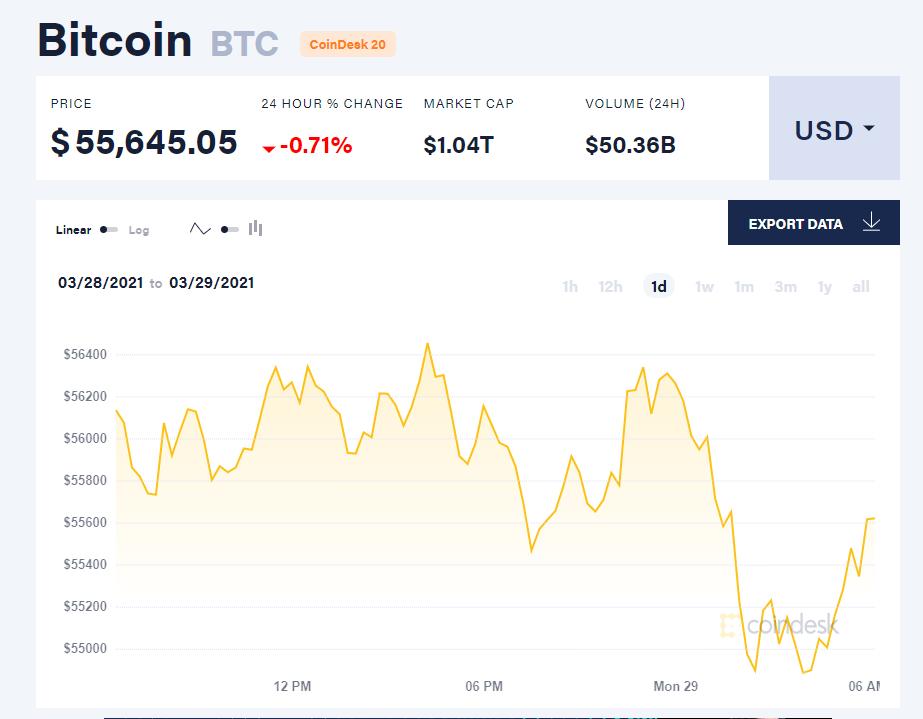 Chỉ số giá bitcoin hôm nay 29/3/21. (Nguồn: CoinDesk).