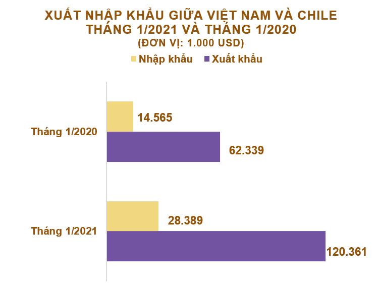 Xuất nhập khẩu Việt Nam và Chile tháng 1/2021: Duy trì thặng dư - Ảnh 2.