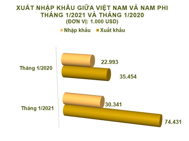 Xuất nhập khẩu Việt Nam và Nam Phi tháng 1/2021: Xuất khẩu hàng hóa tăng 110% - Ảnh 2.