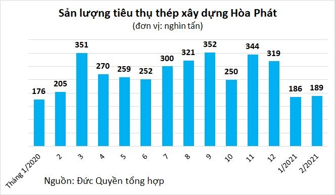 Tiêu thụ thép Hòa Phát sụt giảm trong tháng Tết, kỳ vọng khởi sắc vào tháng 3 - Ảnh 2.
