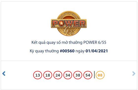 Kết quả Vietlott Power 6/55 ngày 1/4: Jackpot 2 hơn 3,5 tỷ đồng tiếp tục tìm thấy 2 chủ nhân mới - Ảnh 1.