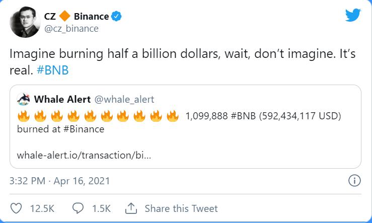 Binance CZ chia sẻ về việc hủy BNB ngày 16/4. (Nguồn: Twitter).