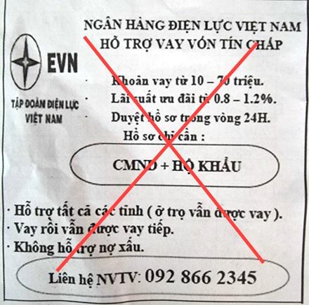 Cảnh báo giả mạo thương hiệu EVN để quảng cáo cho vay tín chấp - Ảnh 1.