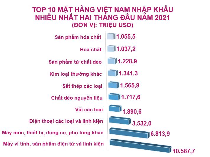 Top 10 mặt hàng Việt Nam nhập khẩu nhiều nhất tháng 2/2021 - Ảnh 2.