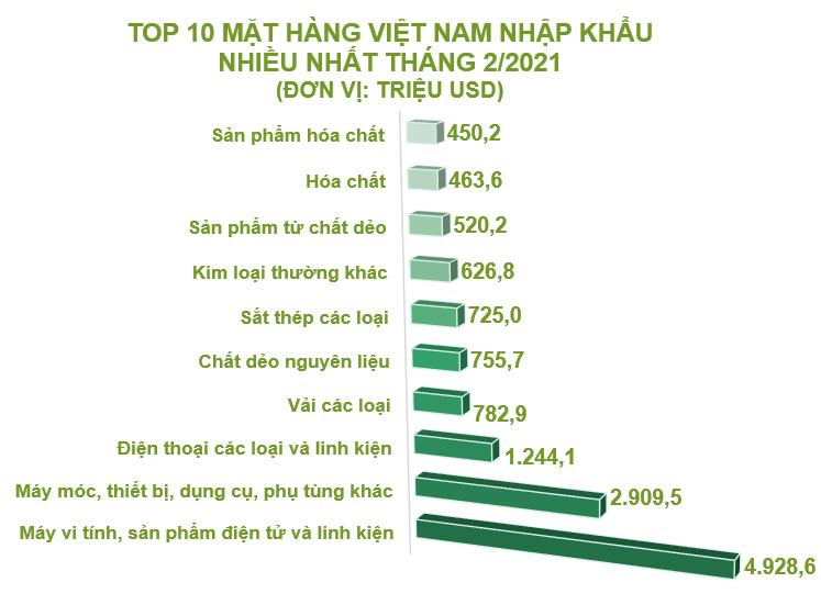 Top 10 mặt hàng Việt Nam nhập khẩu nhiều nhất tháng 2/2021 - Ảnh 1.