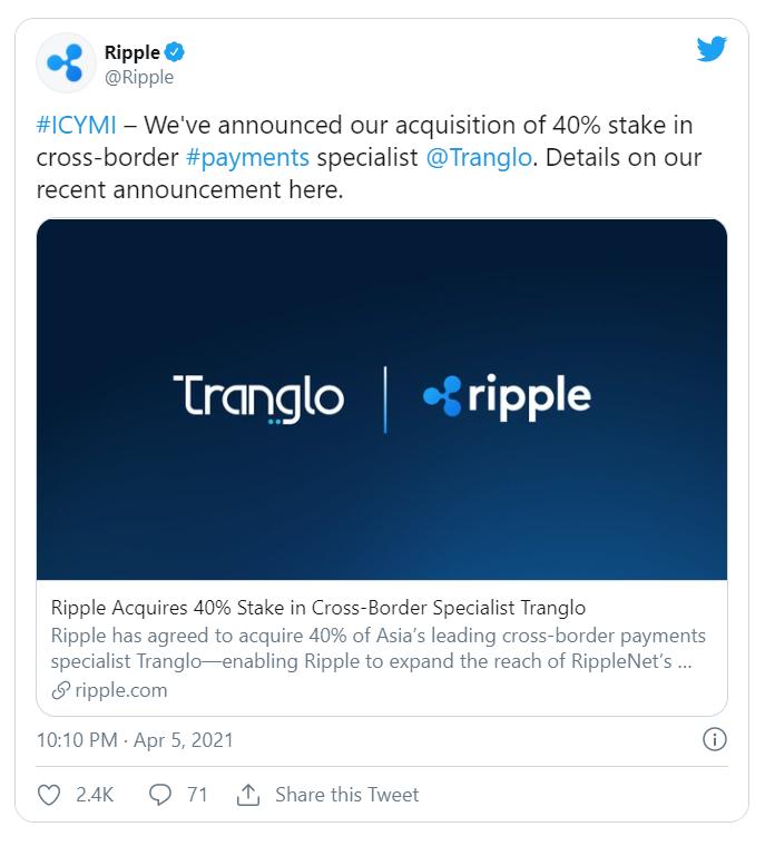 Ripple công bố thương vụ mua lại trên Twitter. (Nguồn: Twitter).