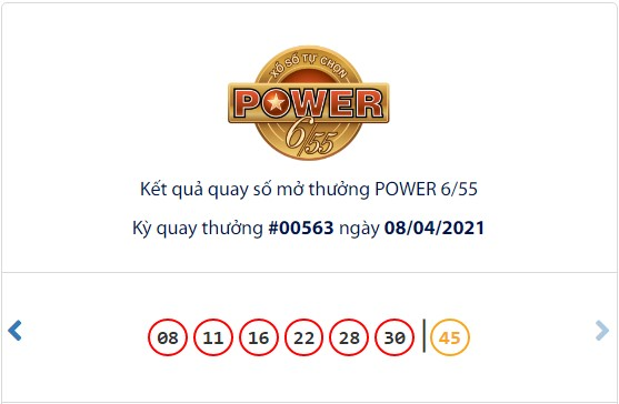 Kết quả Vietlott Power 6/55 ngày 8/4: Jackpot giá trị hơn 33,5 tỷ đồng hụt chủ - Ảnh 1.