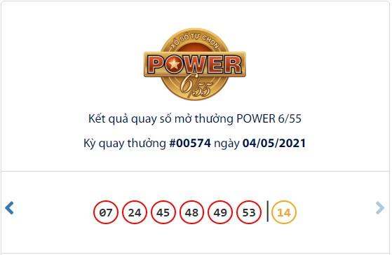 Kết quả Vietlott Power 6/55 ngày 4/5: Hơn 33 tỷ đồng Jackpot tiếp tục hụt chủ - Ảnh 1.