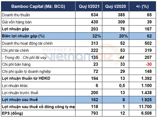 Bamboo Capital báo lãi quý I gấp 20 lần cùng kỳ nhờ bàn giao dự án và lãi chứng khoán - Ảnh 1.