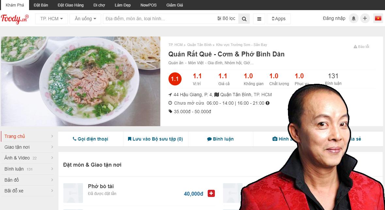 Vạ miệng trên mạng xã hội, quán ăn của nghệ sĩ Đức Hải nhận bão 1 sao trên ứng dụng - Ảnh 1.