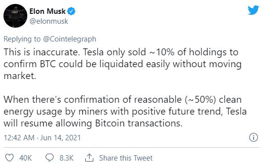 Elon Musk tuyên bố Tesla sẽ lại chấp nhận bitcoin khi thợ đào dùng năng lượng sạch hơn, giá vượt mốc 39.000 USD - Ảnh 2.