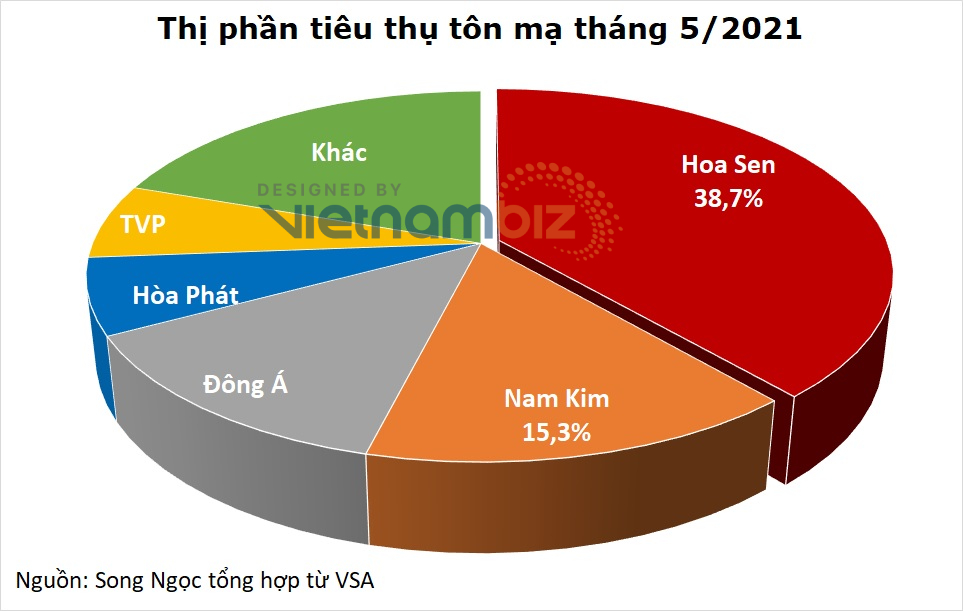 Hoa Sen nắm gần 39% thị phần tôn mạ, gấp 2,5 lần đối thủ gần nhất - Ảnh 1.