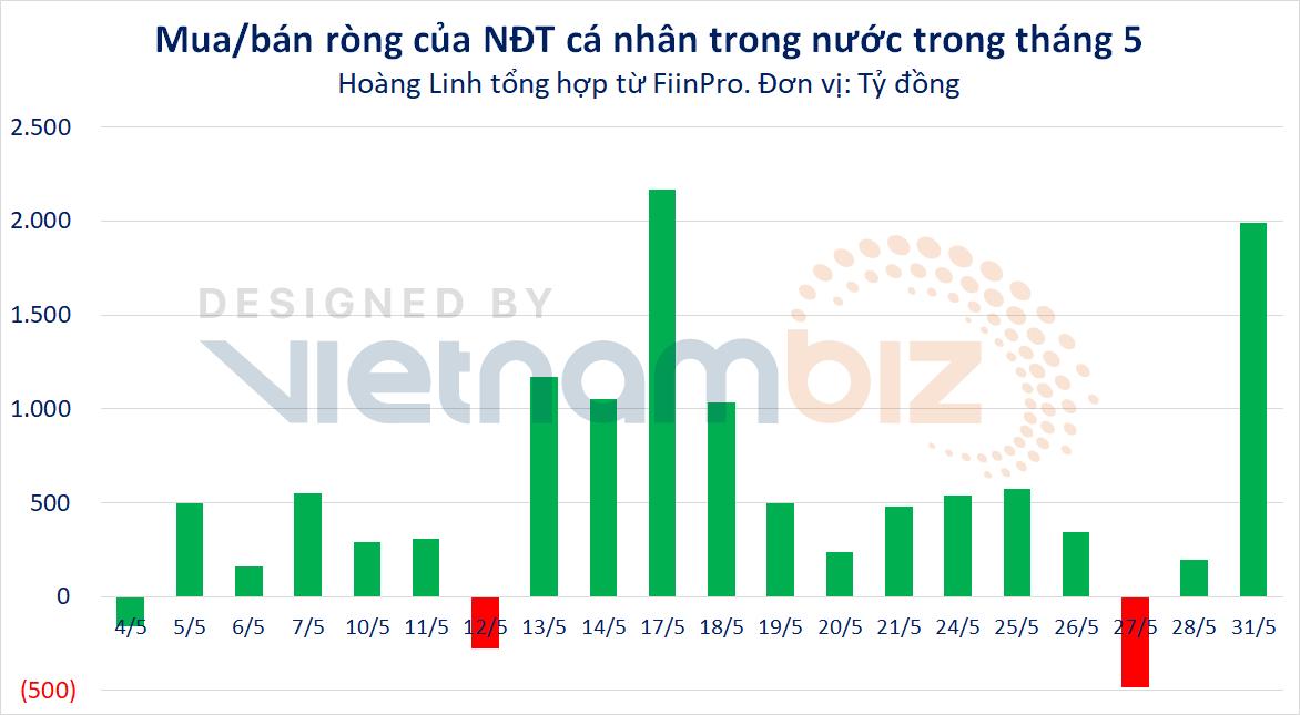 Cá nhân trong nước rót thêm gần 11.200 tỷ đồng vào TTCK, tập trung HPG và nhóm ngân hàng - Ảnh 1.