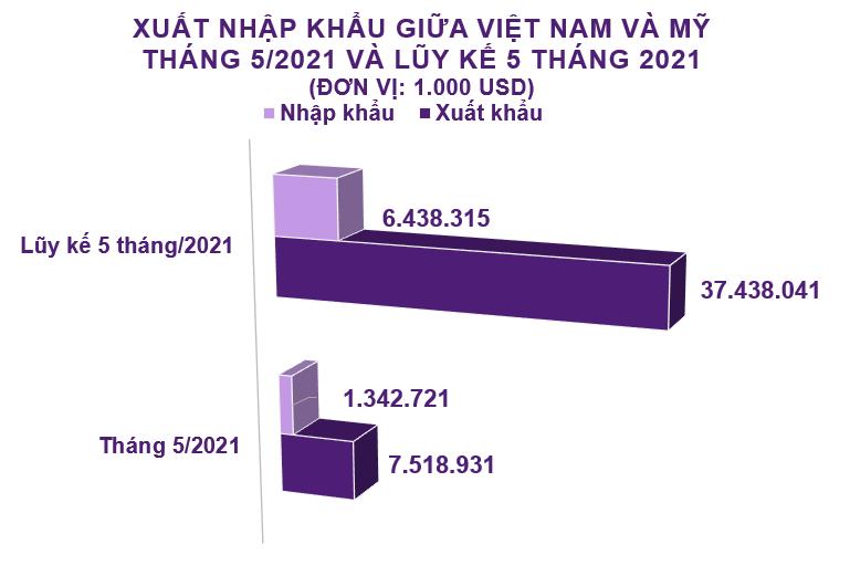 Xuất nhập khẩu Việt Nam và Mỹ tháng 5/2021: Xuất khẩu phần lớn hàng dệt may - Ảnh 2.