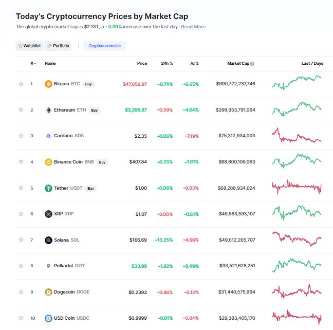 Nhóm 10 đồng tiền hàng đầu theo giá trị thị trường ngày 19/9/2021. (Nguồn: CoinMarketCap).