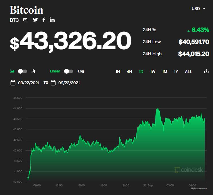 Chỉ số giá bitcoin hôm nay 23/9/2021. (Nguồn: CoinDesk).