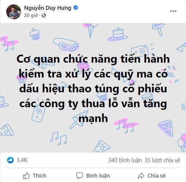 Ông Nguyễn Duy Hưng cho rằng cần kiểm tra xử lý các quỹ ma có dấu hiệu thao túng cổ phiếu  - Ảnh 1.