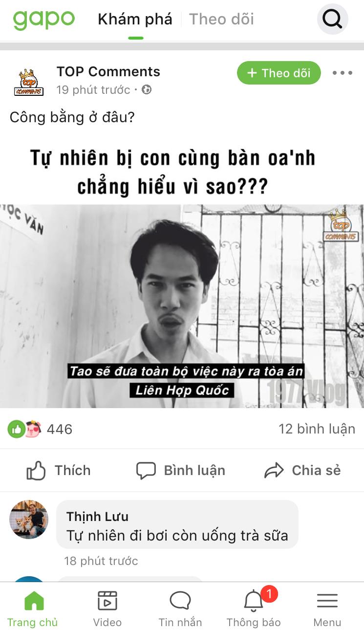 Ảnh chụp màn hình một bài đăng trên mạng xã hội Gapo