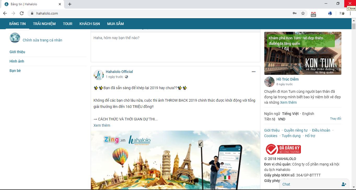 Ảnh chụp màn hình trang web của Hahalolo. Nội dung rất cũ và không nhiều điểm mới.