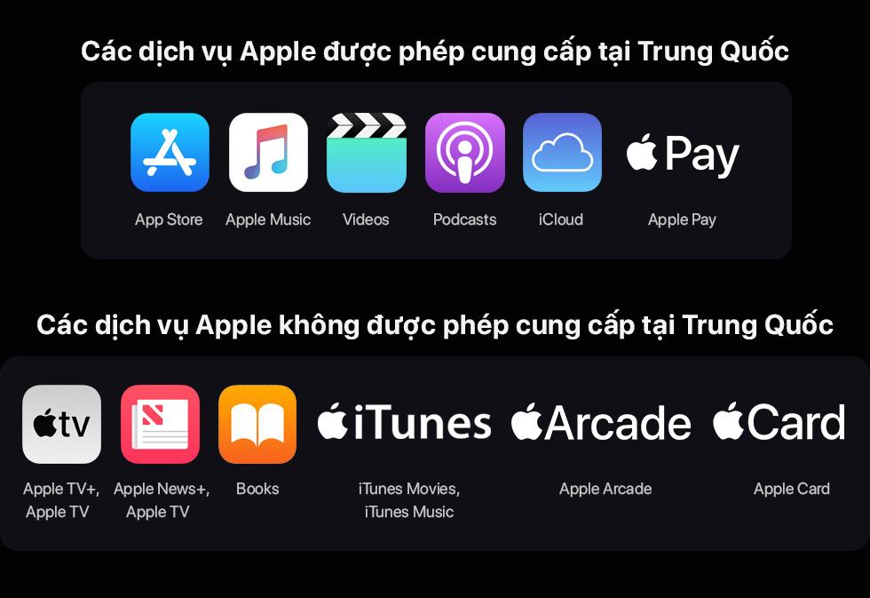Các dịch vụ apple được cấp phép và không được cấp phép tại trung quốc