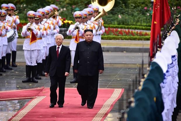 Lễ đón chính thức Chủ tịch Triều Tiên Kim Jong-un tại Phủ chủ tịch - Ảnh 2.