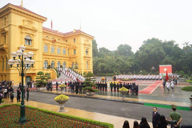 Lễ đón chính thức Chủ tịch Triều Tiên Kim Jong-un tại Phủ chủ tịch - Ảnh 1.