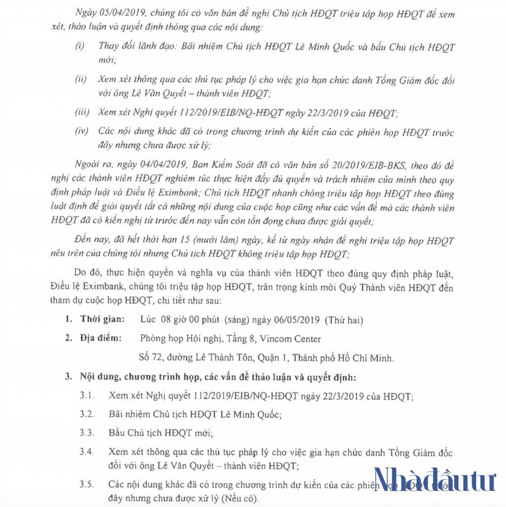 Hội đồng quản trị Eximbank tiếp tục triệu tập họp miễn nhiệm ông Lê Minh Quốc - Ảnh 1.