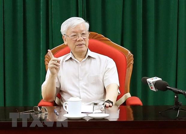 Tổng Bí thư, Chủ tịch nước Nguyễn Phú Trọng chủ trì họp lãnh đạo - Ảnh 1.