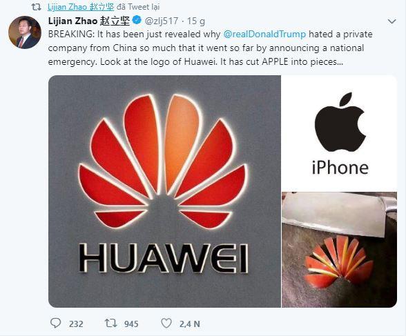 Nhà ngoại giao Trung Quốc nói đùa: Mỹ ghét Huawei vì Huawei dễ dàng hủy diệt Apple - Ảnh 1.