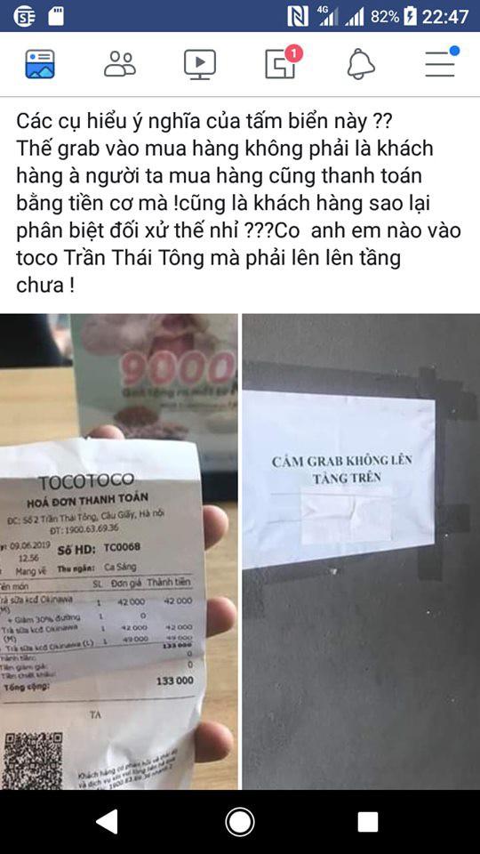 Cộng đồng tài xế công nghệ dậy sóng vì thông báo cấm tài xế Grab lên tầng trong tiệm trà sữa Toco Toco, nhân viên nói đó không phải chủ trương của tiệm - Ảnh 1.