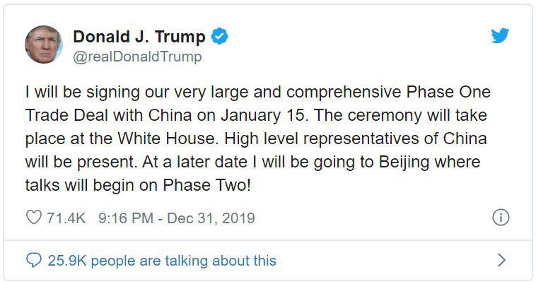 Tổng thống Trump: Tôi sẽ kí thỏa thuận thương mại với Trung Quốc vào ngày 15/1 - Ảnh 1.