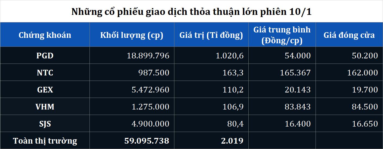 Giao dịch thỏa thuận khủng PGD, NTC, GEX, VHM phiên 10/1 - Ảnh 1.