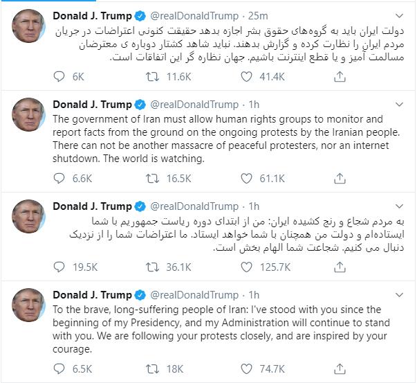 Ông Trump ủng hộ người biểu tình Iran và cảnh cáo Tehran: 'Thế giới đang dõi theo' - Ảnh 2.