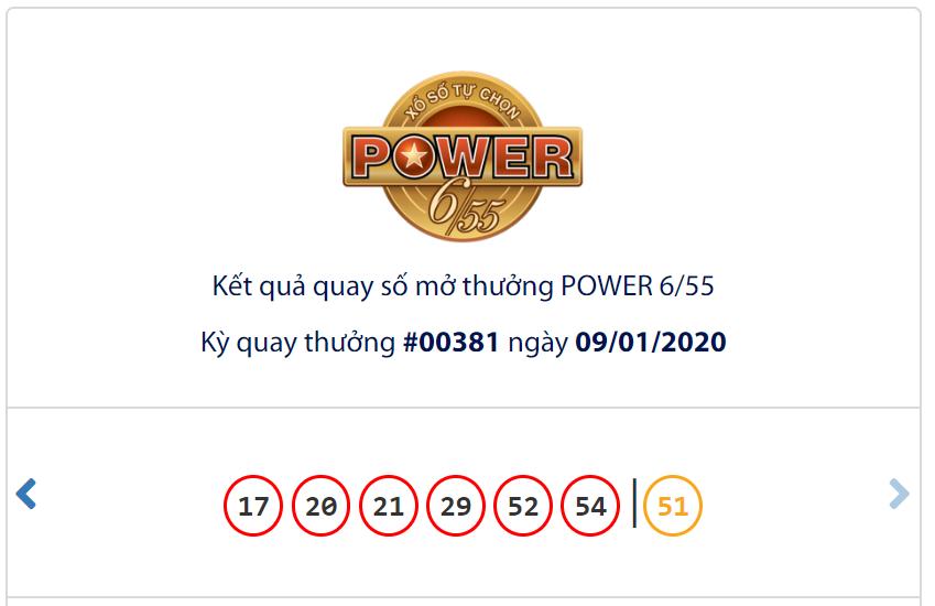 Kết quả Vietlott Power 6/55 ngày 9/1: Giá trị hơn 33,4 tỉ đồng, jackpot 1 chưa xuất hiện chủ nhân thứ hai - Ảnh 1.