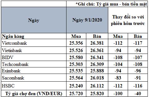 Tỷ giá đồng Euro hôm nay 9/1: Giá Euro trong nước giảm mạnh - Ảnh 2.
