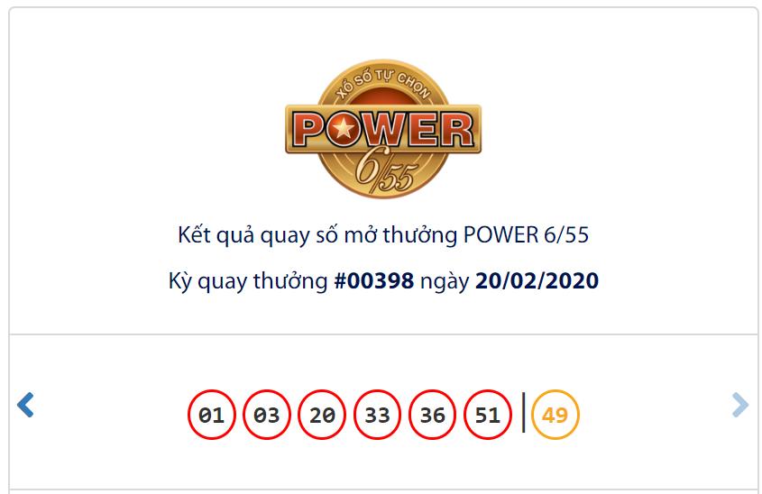 Kết quả Vietlott Power 6/55 ngày 20/2: Jackpot 1 cán mốc 66,3 tỉ đồng vẫn thiếu chủ - Ảnh 1.