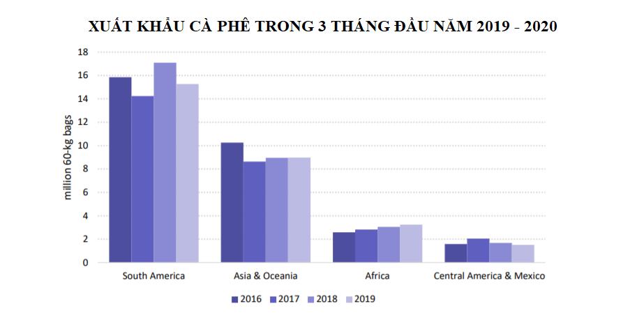 Xuất khẩu cà phê tại các khu vực sản xuất chính nhìn chung giảm trong 3 tháng đầu năm 2019 - 2020 - Ảnh 2.