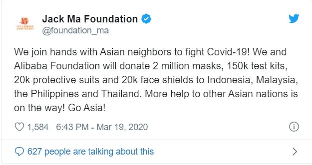 Jack Ma và Alibaba tặng khẩu trang và bộ xét nghiệm cho 4 nước Đông Nam Á, không có Việt Nam - Ảnh 1.
