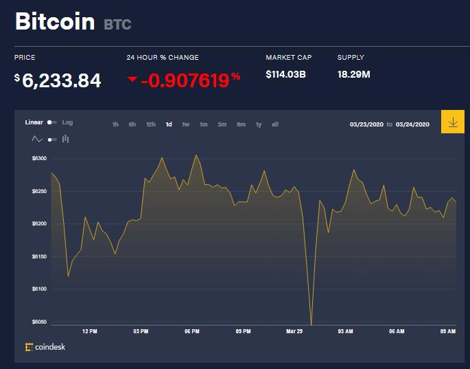 Chỉ số giá bitcoin hôm nay (29/3) (nguồn: CoinDesk)