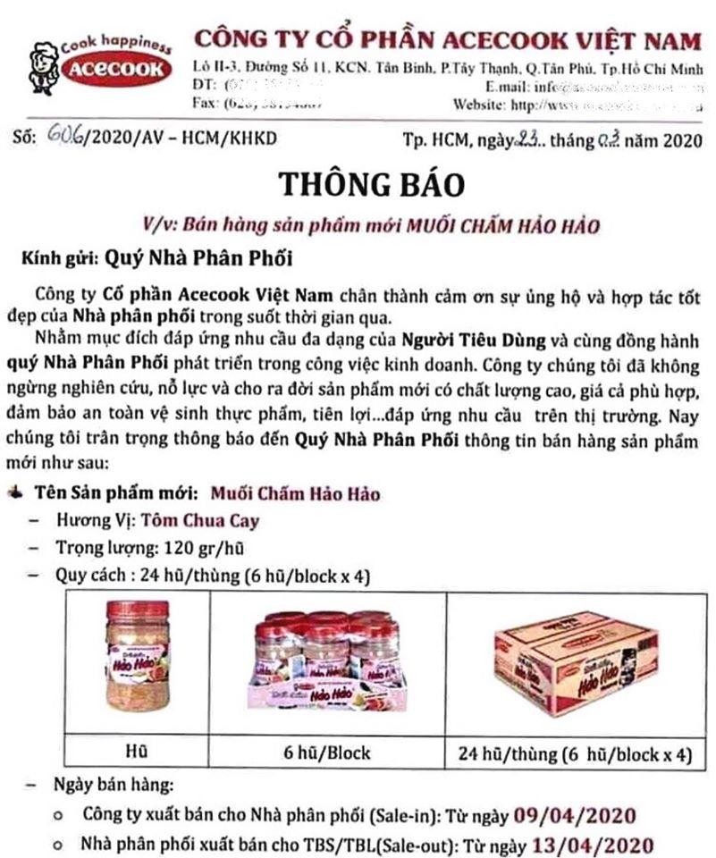 Muối chấm Hảo Hảo của AceCook được bán từ 9/4