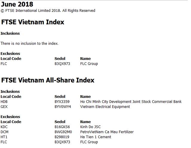 ftse vietnam index loai flc khong them moi co phieu