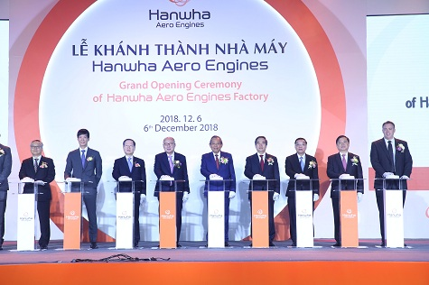 khanh thanh nha may dong co may bay hanwha aero engines tri gia 200 trieu usd